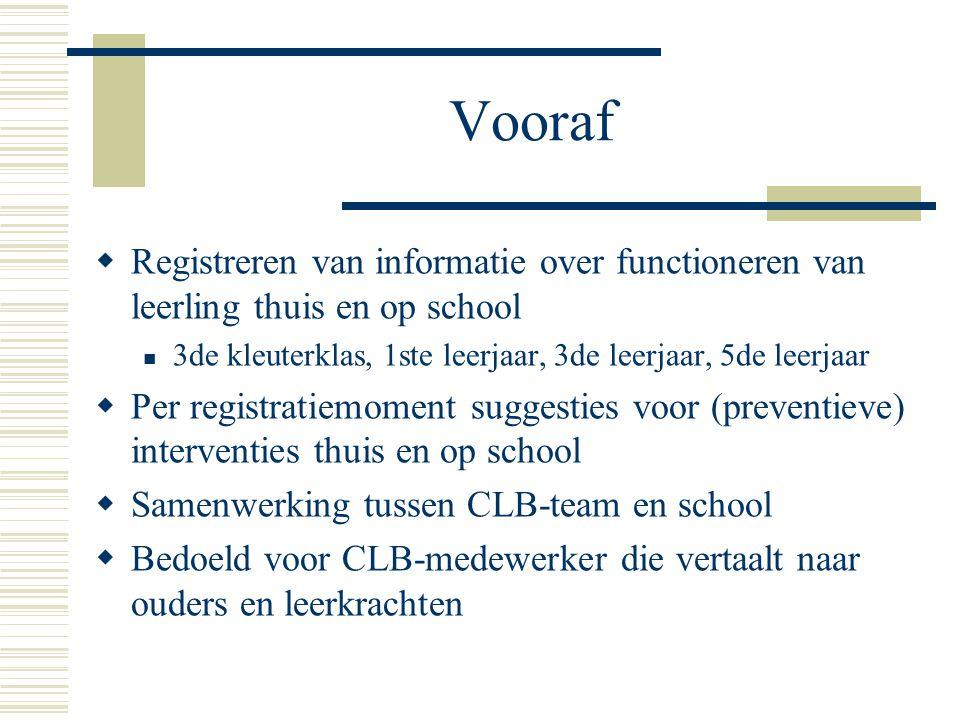 Vooraf  Registreren van informatie over functioneren van leerling thuis en op school  3de kleuterklas, 1ste leerjaar, 3de leerjaar, 5de leerjaar  P