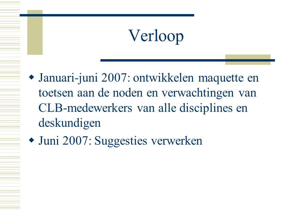 Verloop  Januari-juni 2007: ontwikkelen maquette en toetsen aan de noden en verwachtingen van CLB-medewerkers van alle disciplines en deskundigen  J
