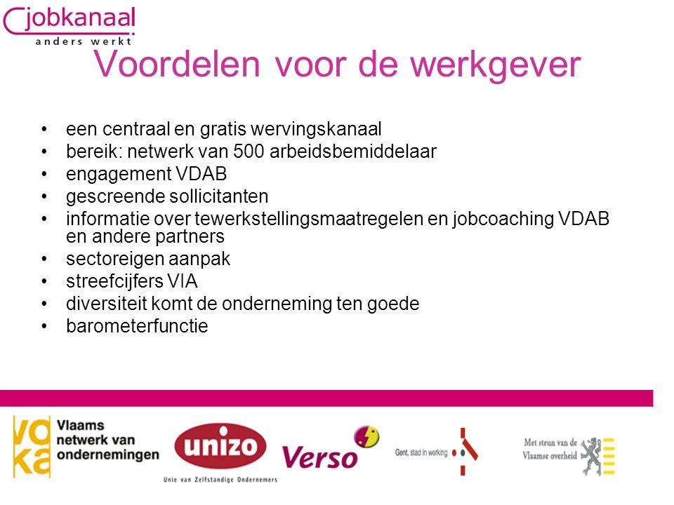 Voordelen voor de werkgever •een centraal en gratis wervingskanaal •bereik: netwerk van 500 arbeidsbemiddelaar •engagement VDAB •gescreende sollicitan
