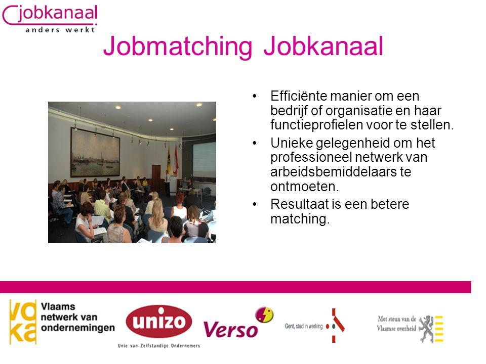 Jobmatching Jobkanaal •Efficiënte manier om een bedrijf of organisatie en haar functieprofielen voor te stellen. •Unieke gelegenheid om het profession