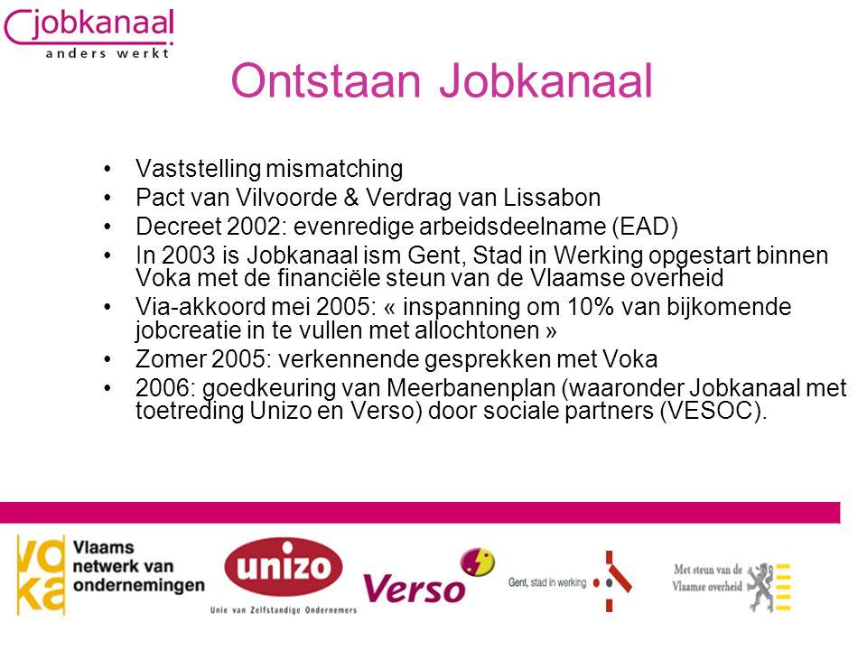 Ontstaan Jobkanaal •Vaststelling mismatching •Pact van Vilvoorde & Verdrag van Lissabon •Decreet 2002: evenredige arbeidsdeelname (EAD) •In 2003 is Jobkanaal ism Gent, Stad in Werking opgestart binnen Voka met de financiële steun van de Vlaamse overheid •Via-akkoord mei 2005: « inspanning om 10% van bijkomende jobcreatie in te vullen met allochtonen » •Zomer 2005: verkennende gesprekken met Voka •2006: goedkeuring van Meerbanenplan (waaronder Jobkanaal met toetreding Unizo en Verso) door sociale partners (VESOC).