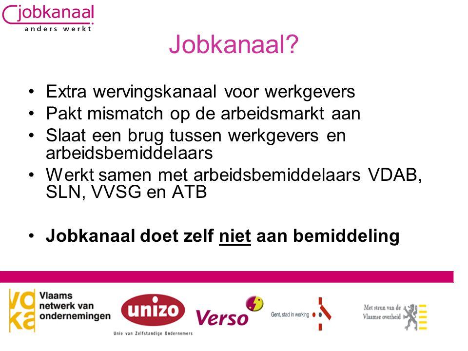 Jobkanaal? •Extra wervingskanaal voor werkgevers •Pakt mismatch op de arbeidsmarkt aan •Slaat een brug tussen werkgevers en arbeidsbemiddelaars •Werkt