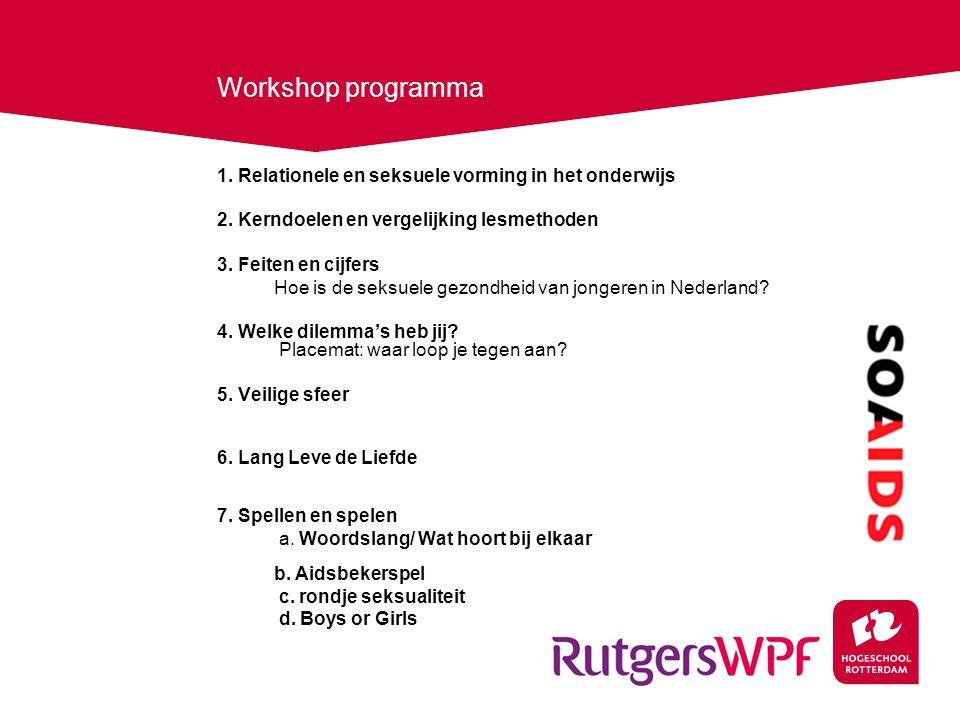 Workshop programma 1.Relationele en seksuele vorming in het onderwijs 2.