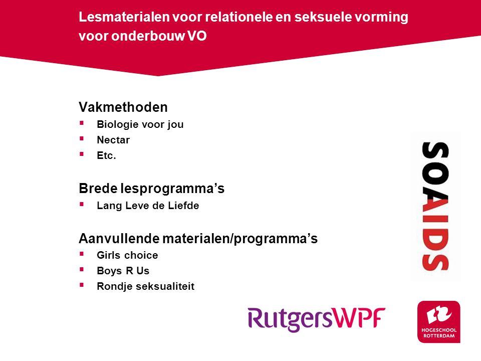 Lesmaterialen voor relationele en seksuele vorming voor onderbouw VO Vakmethoden  Biologie voor jou  Nectar  Etc.
