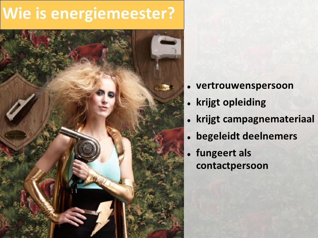 Wie is energiemeester?  vertrouwenspersoon  krijgt opleiding  krijgt campagnemateriaal  begeleidt deelnemers  fungeert als contactpersoon