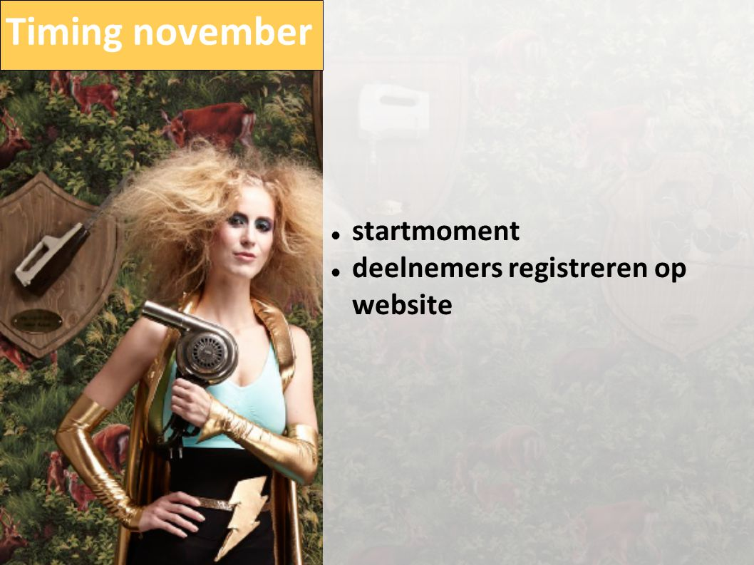 Timing november  startmoment  deelnemers registreren op website