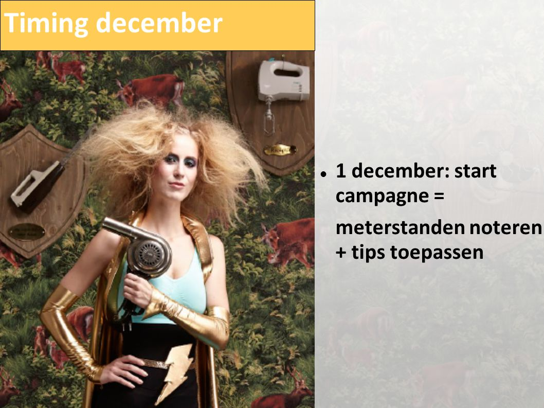 Timing december  1 december: start campagne = meterstanden noteren + tips toepassen