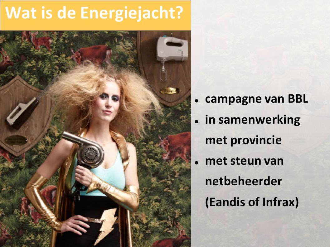 Wat is de Energiejacht?  campagne van BBL  in samenwerking met provincie  met steun van netbeheerder (Eandis of Infrax)