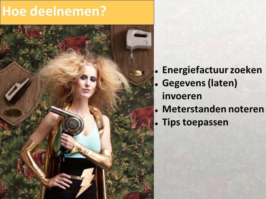 Hoe deelnemen?  Energiefactuur zoeken  Gegevens (laten) invoeren  Meterstanden noteren  Tips toepassen