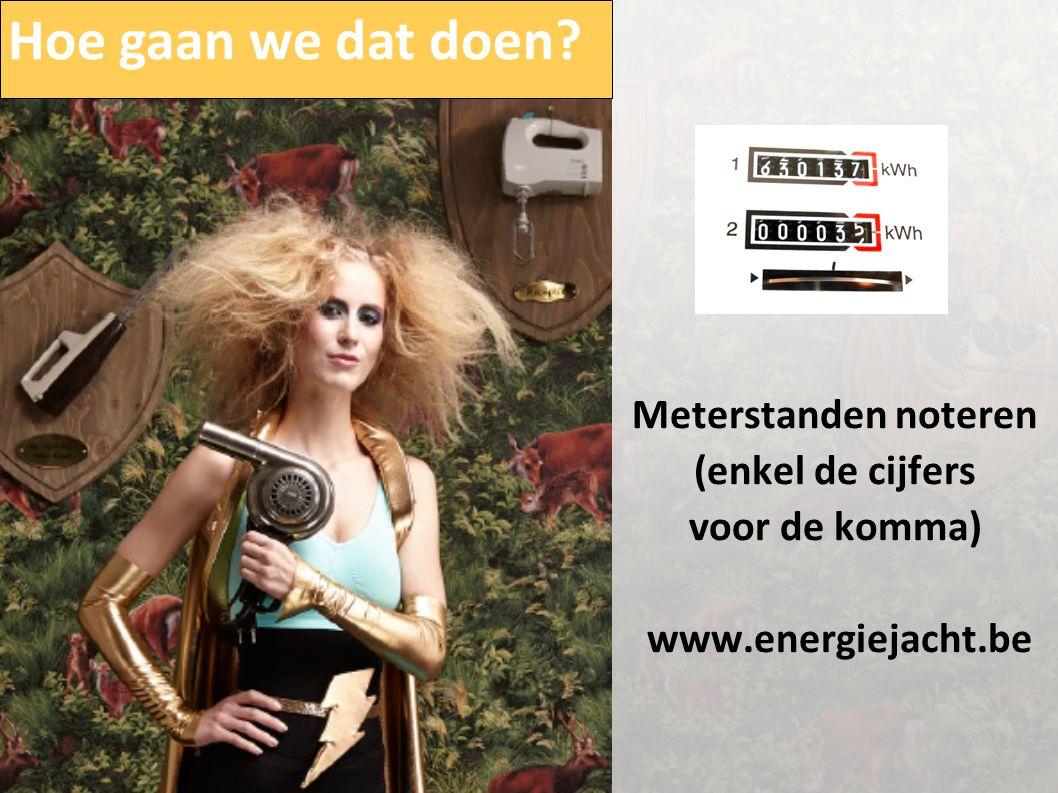 Meterstanden noteren (enkel de cijfers voor de komma) www.energiejacht.be Hoe gaan we dat doen?