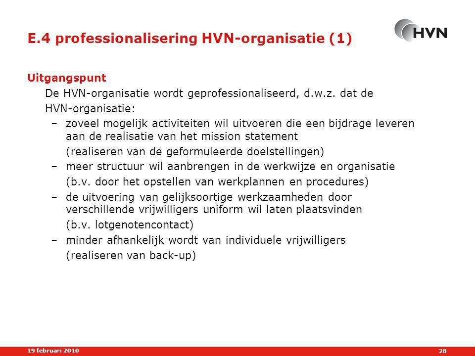 28 19 februari 2010 E.4 professionalisering HVN-organisatie (1) Uitgangspunt De HVN-organisatie wordt geprofessionaliseerd, d.w.z.