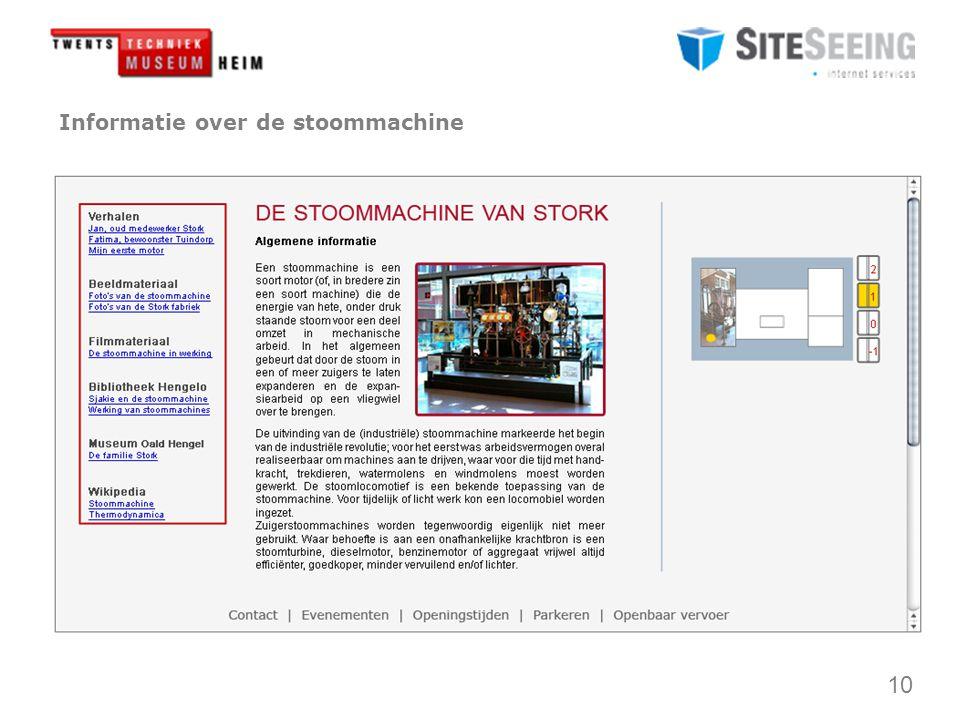 10 Informatie over de stoommachine Contact | Evenementen | Openingstijden | Parkeren | Openbaar vervoer
