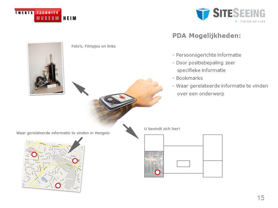 15 PDA Mogelijkheden: - Persoonsgerichte informatie - Door positiebepaling zeer specifieke informatie - Bookmarks - Waar gerelateerde informatie te vinden over een onderwerp