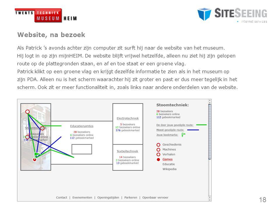 18 Website, na bezoek Als Patrick 's avonds achter zijn computer zit surft hij naar de website van het museum.