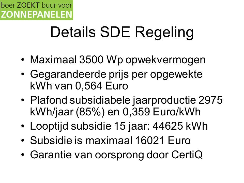 Details SDE Regeling •Maximaal 3500 Wp opwekvermogen •Gegarandeerde prijs per opgewekte kWh van 0,564 Euro •Plafond subsidiabele jaarproductie 2975 kWh/jaar (85%) en 0,359 Euro/kWh •Looptijd subsidie 15 jaar: 44625 kWh •Subsidie is maximaal 16021 Euro •Garantie van oorsprong door CertiQ
