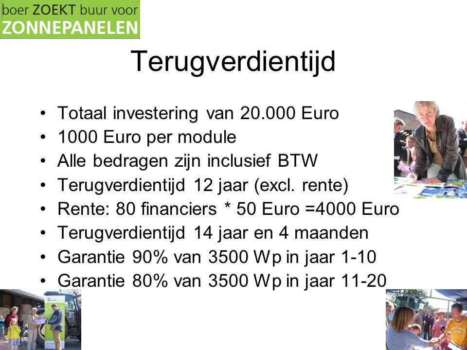 Terugverdientijd •Totaal investering van 20.000 Euro •1000 Euro per module •Alle bedragen zijn inclusief BTW •Terugverdientijd 12 jaar (excl. rente) •
