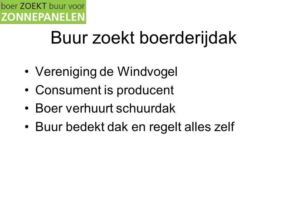 Buur zoekt boerderijdak •Vereniging de Windvogel •Consument is producent •Boer verhuurt schuurdak •Buur bedekt dak en regelt alles zelf