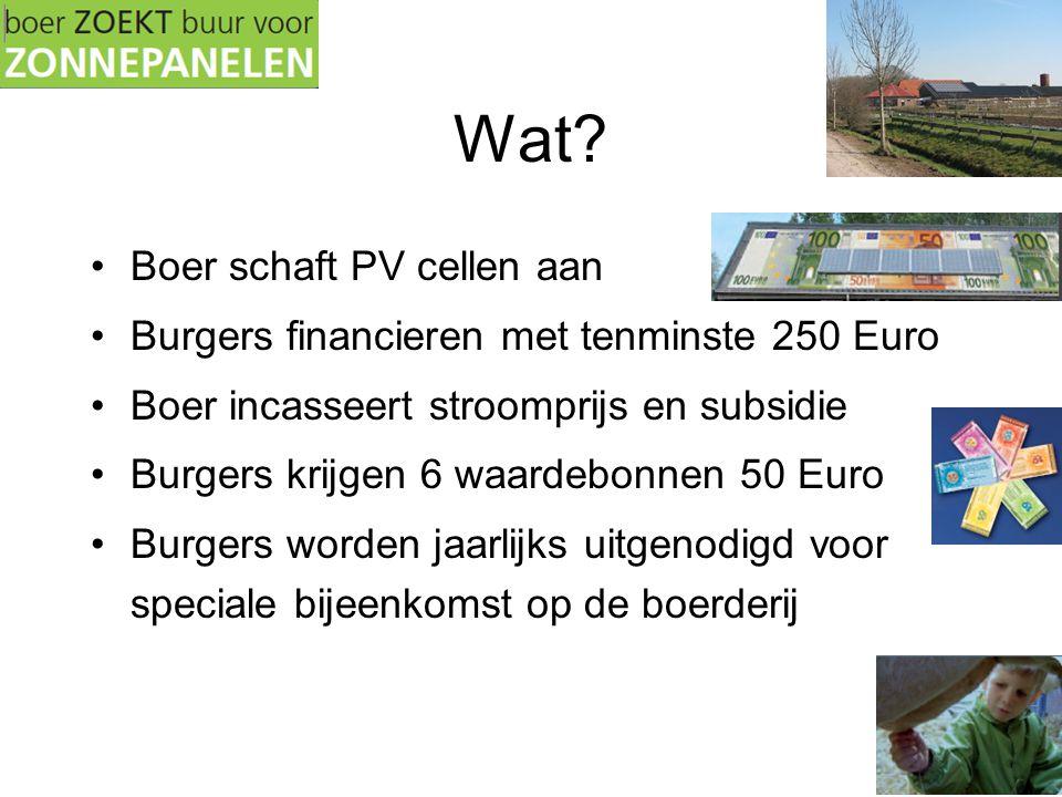 Wat? •Boer schaft PV cellen aan •Burgers financieren met tenminste 250 Euro •Boer incasseert stroomprijs en subsidie •Burgers krijgen 6 waardebonnen 5