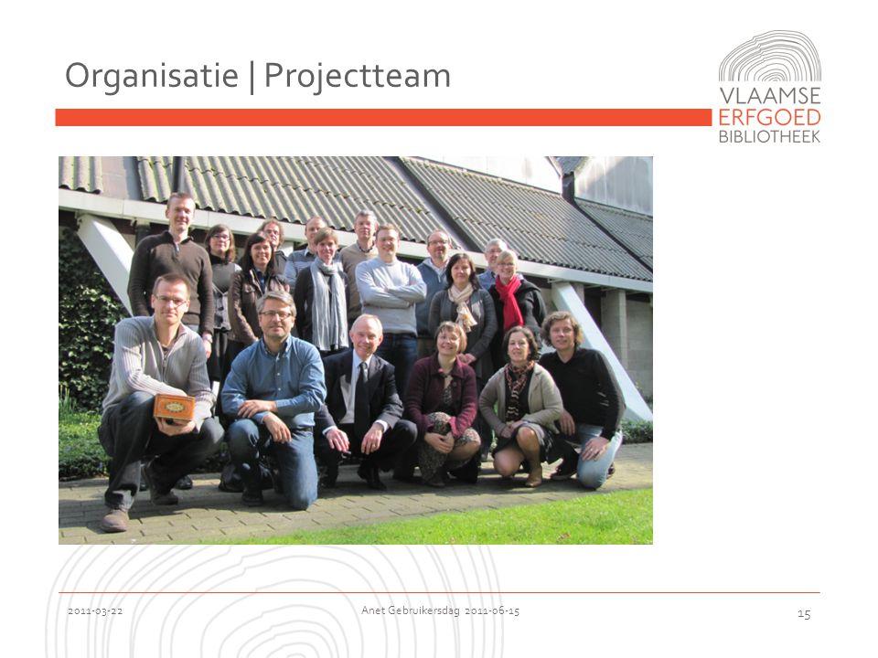 2011-03-22 Anet Gebruikersdag 2011-06-15 15 Organisatie | Projectteam