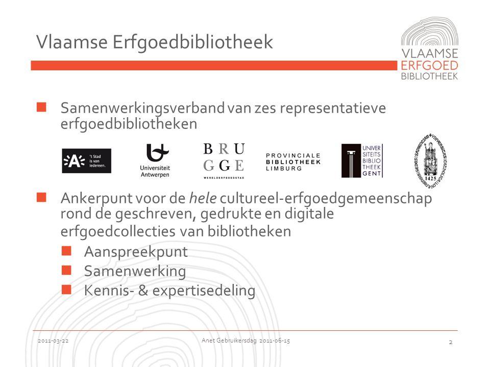 2011-03-22 Anet Gebruikersdag 2011-06-15 2 Vlaamse Erfgoedbibliotheek  Samenwerkingsverband van zes representatieve erfgoedbibliotheken  Ankerpunt voor de hele cultureel-erfgoedgemeenschap rond de geschreven, gedrukte en digitale erfgoedcollecties van bibliotheken  Aanspreekpunt  Samenwerking  Kennis- & expertisedeling
