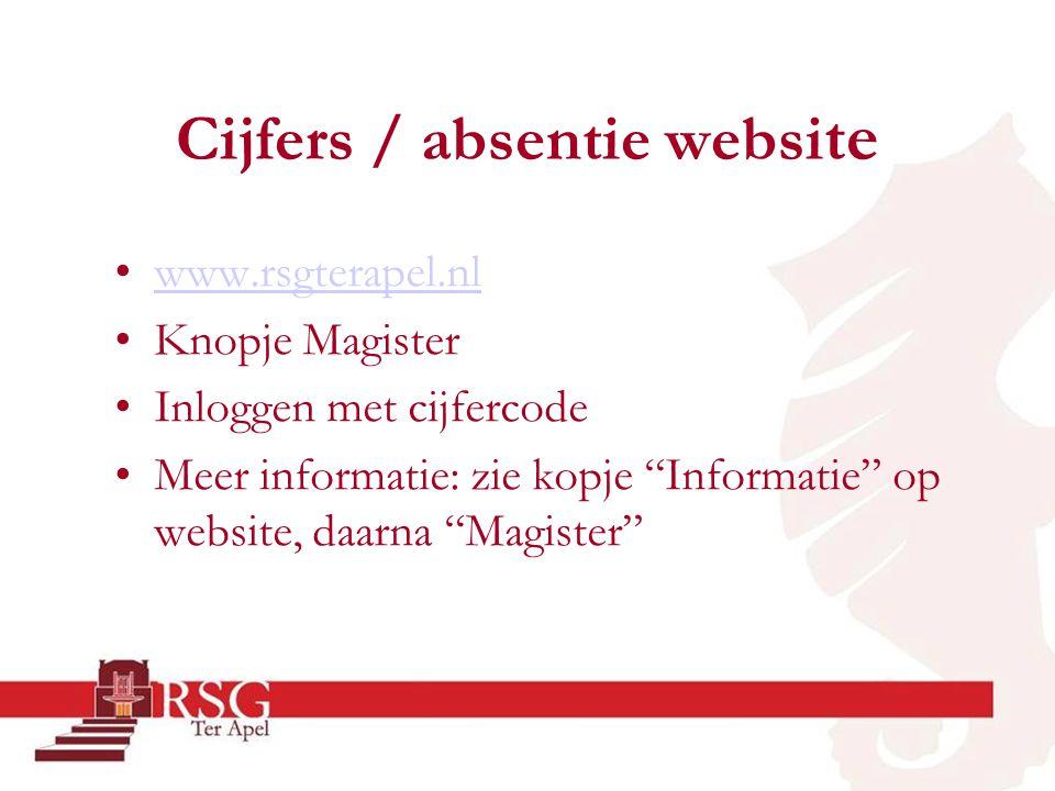 """Cijfers / absentie websi te •www.rsgterapel.nlwww.rsgterapel.nl •Knopje Magister •Inloggen met cijfercode •Meer informatie: zie kopje """"Informatie"""" op"""