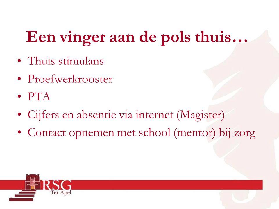 Een vinger aan de pols thuis… •Thuis stimulans •Proefwerkrooster •PTA •Cijfers en absentie via internet (Magister) •Contact opnemen met school (mentor