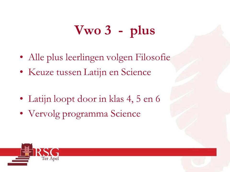 Vwo 3 - plus •Alle plus leerlingen volgen Filosofie •Keuze tussen Latijn en Science •Latijn loopt door in klas 4, 5 en 6 •Vervolg programma Science