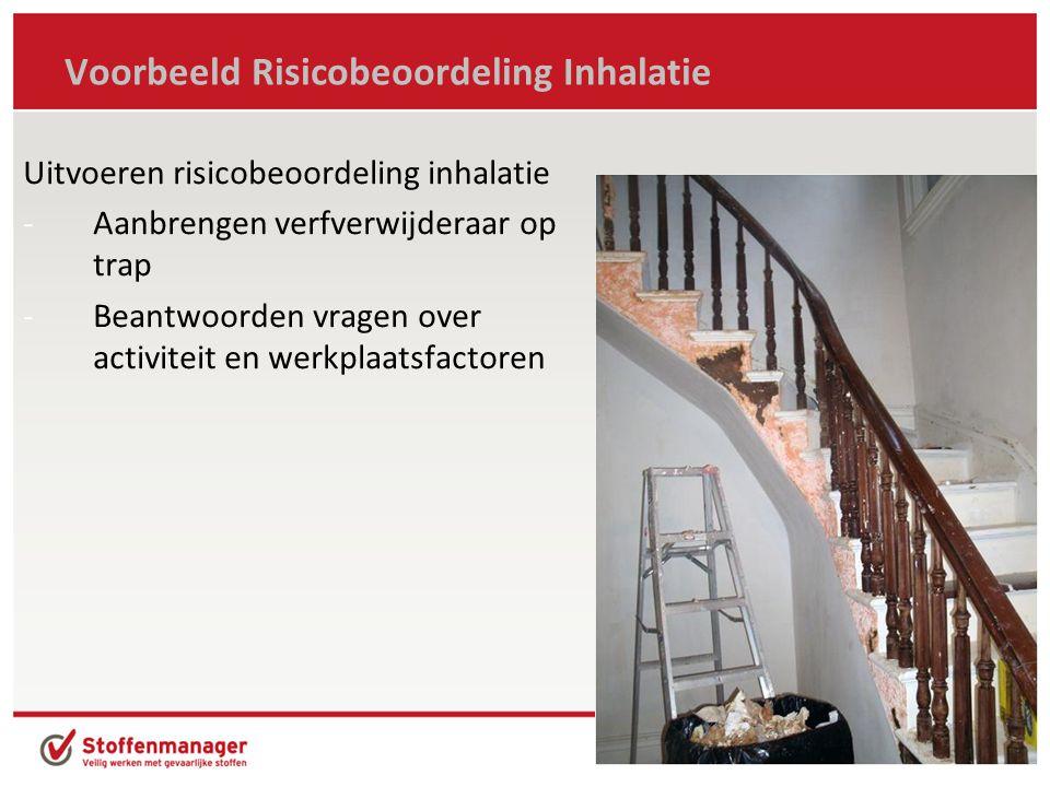 Voorbeeld Risicobeoordeling Inhalatie Uitvoeren risicobeoordeling inhalatie -Aanbrengen verfverwijderaar op trap -Beantwoorden vragen over activiteit