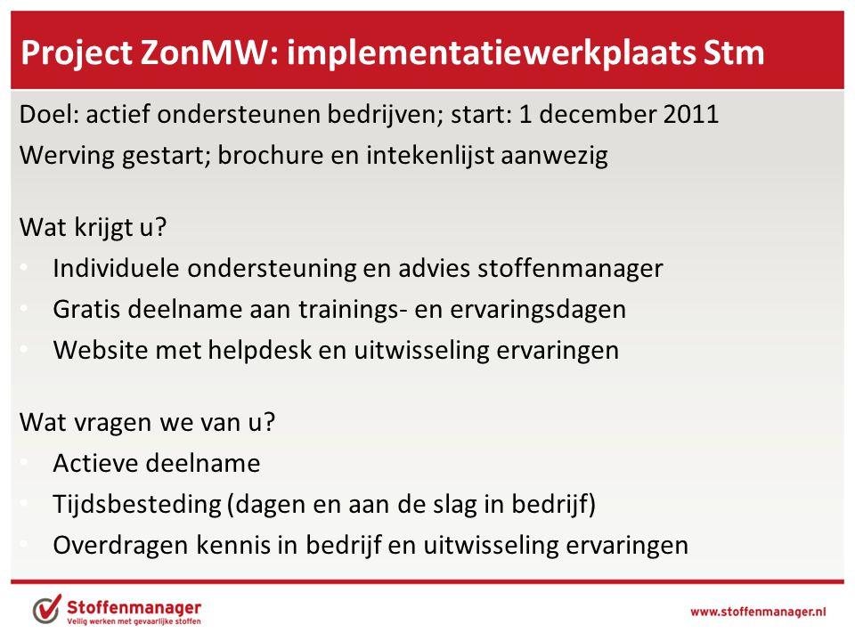 Project ZonMW: implementatiewerkplaats Stm Doel: actief ondersteunen bedrijven; start: 1 december 2011 Werving gestart; brochure en intekenlijst aanwe