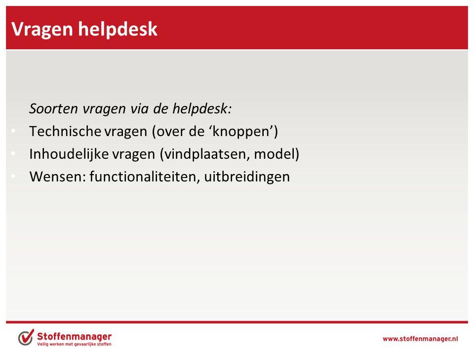 Vragen helpdesk Soorten vragen via de helpdesk: • Technische vragen (over de 'knoppen') • Inhoudelijke vragen (vindplaatsen, model) • Wensen: function