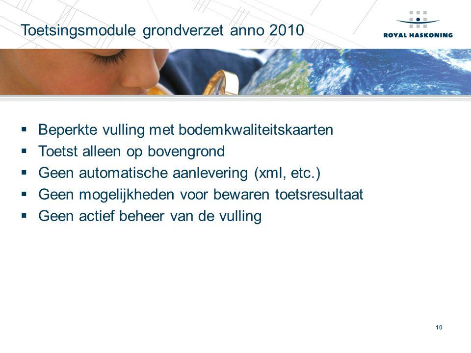 10 Toetsingsmodule grondverzet anno 2010  Beperkte vulling met bodemkwaliteitskaarten  Toetst alleen op bovengrond  Geen automatische aanlevering (