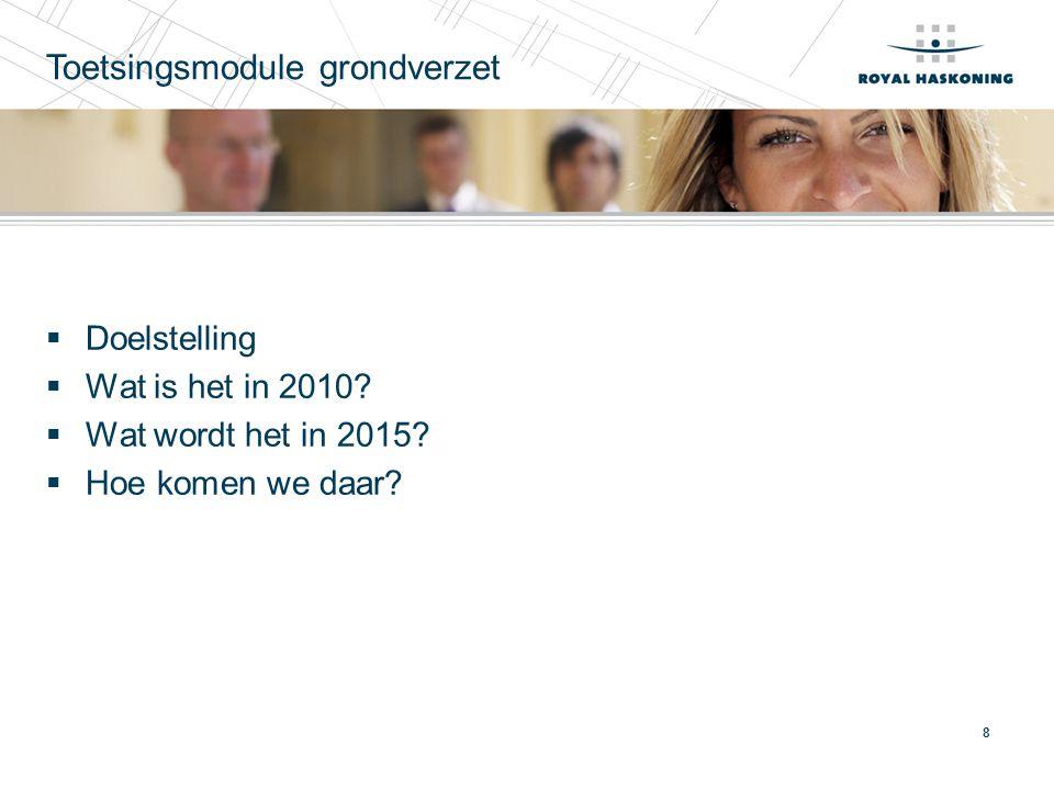 8 Toetsingsmodule grondverzet  Doelstelling  Wat is het in 2010?  Wat wordt het in 2015?  Hoe komen we daar?