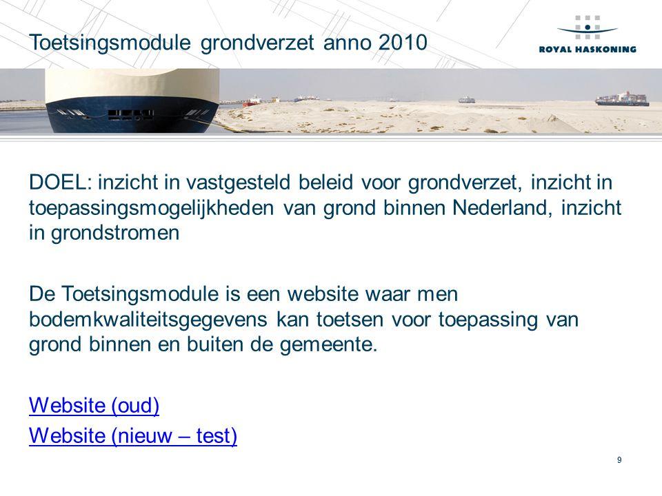 9 Toetsingsmodule grondverzet anno 2010 DOEL: inzicht in vastgesteld beleid voor grondverzet, inzicht in toepassingsmogelijkheden van grond binnen Ned