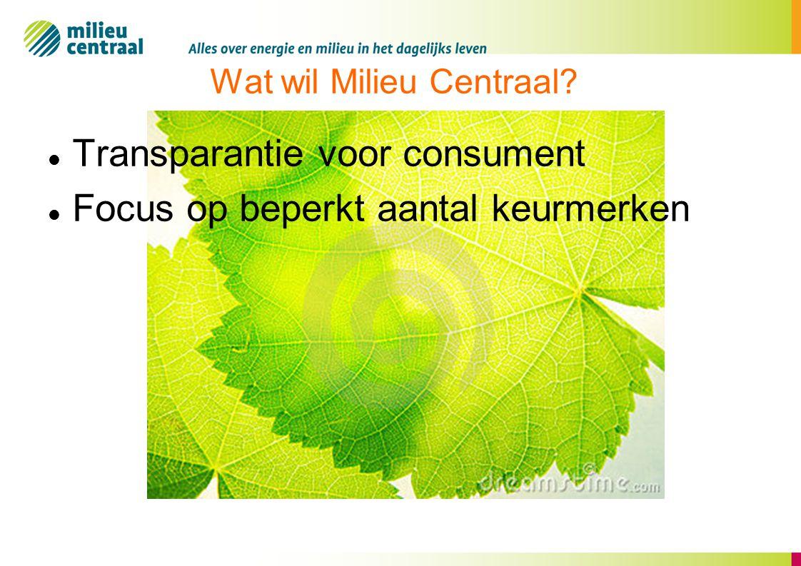 Wat wil Milieu Centraal?  Transparantie voor consument  Focus op beperkt aantal keurmerken