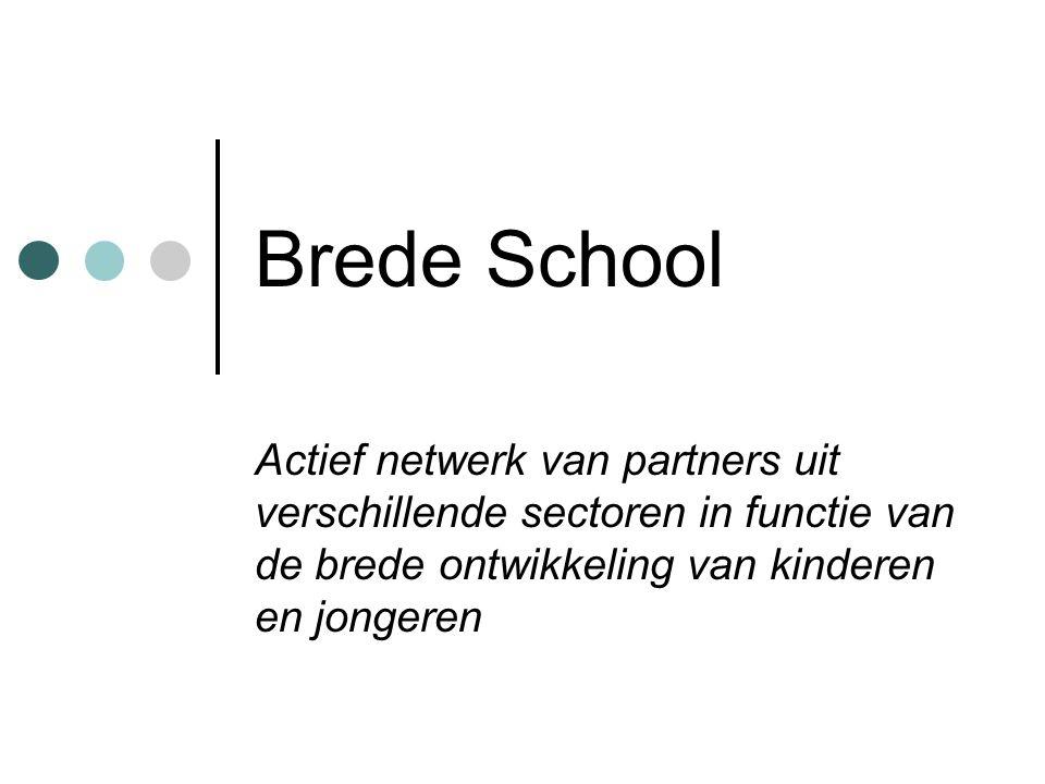 Brede School Actief netwerk van partners uit verschillende sectoren in functie van de brede ontwikkeling van kinderen en jongeren