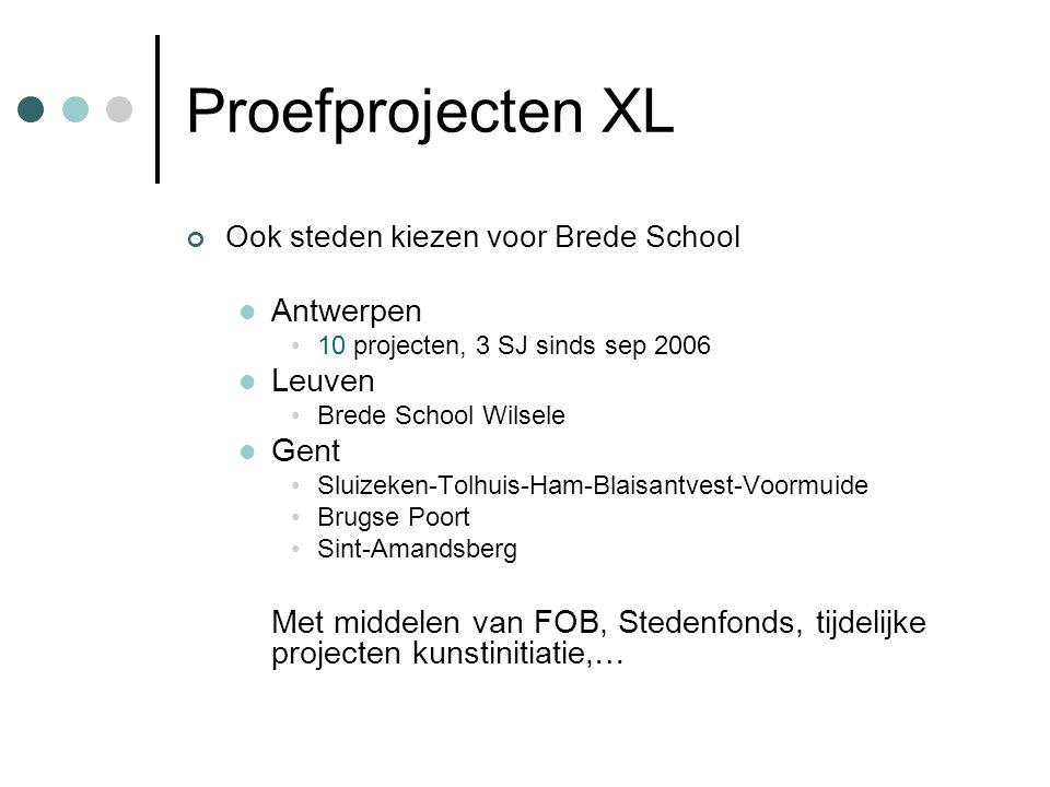 Proefprojecten XL Ook steden kiezen voor Brede School  Antwerpen •10 projecten, 3 SJ sinds sep 2006  Leuven •Brede School Wilsele  Gent •Sluizeken-Tolhuis-Ham-Blaisantvest-Voormuide •Brugse Poort •Sint-Amandsberg Met middelen van FOB, Stedenfonds, tijdelijke projecten kunstinitiatie,…