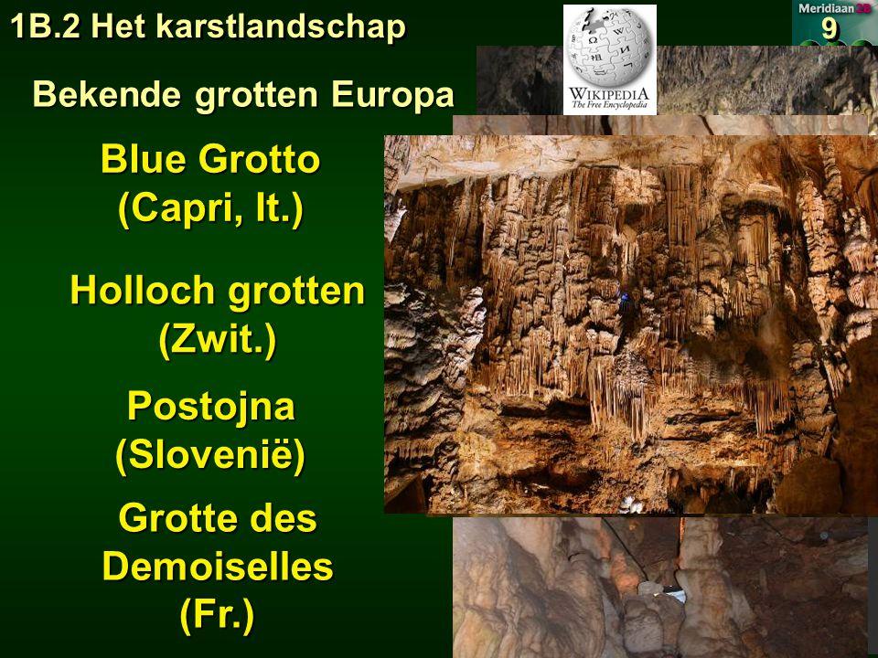 1B.2 Het karstlandschap 9 9 Bekende grotten Europa Blue Grotto (Capri, It.) Holloch grotten (Zwit.) Postojna(Slovenië) Grotte des Demoiselles (Fr.)