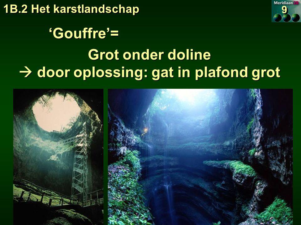 1B.2 Het karstlandschap 9 9 'Gouffre'= Grot onder doline  door oplossing: gat in plafond grot