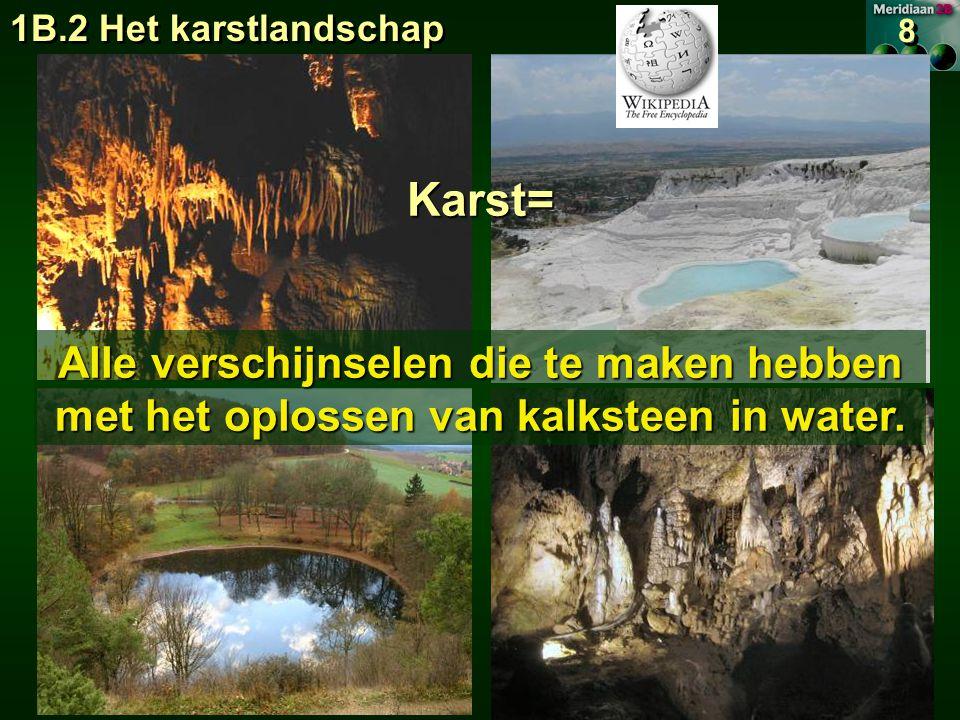 1B.2 Het karstlandschap 8 8 Karst= Alle verschijnselen die te maken hebben met het oplossen van kalksteen in water.