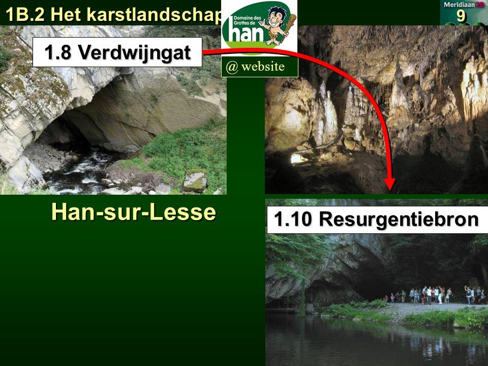 1B.2 Het karstlandschap 9 9 @ websiteHan-sur-Lesse 1.8 Verdwijngat 1.10 Resurgentiebron