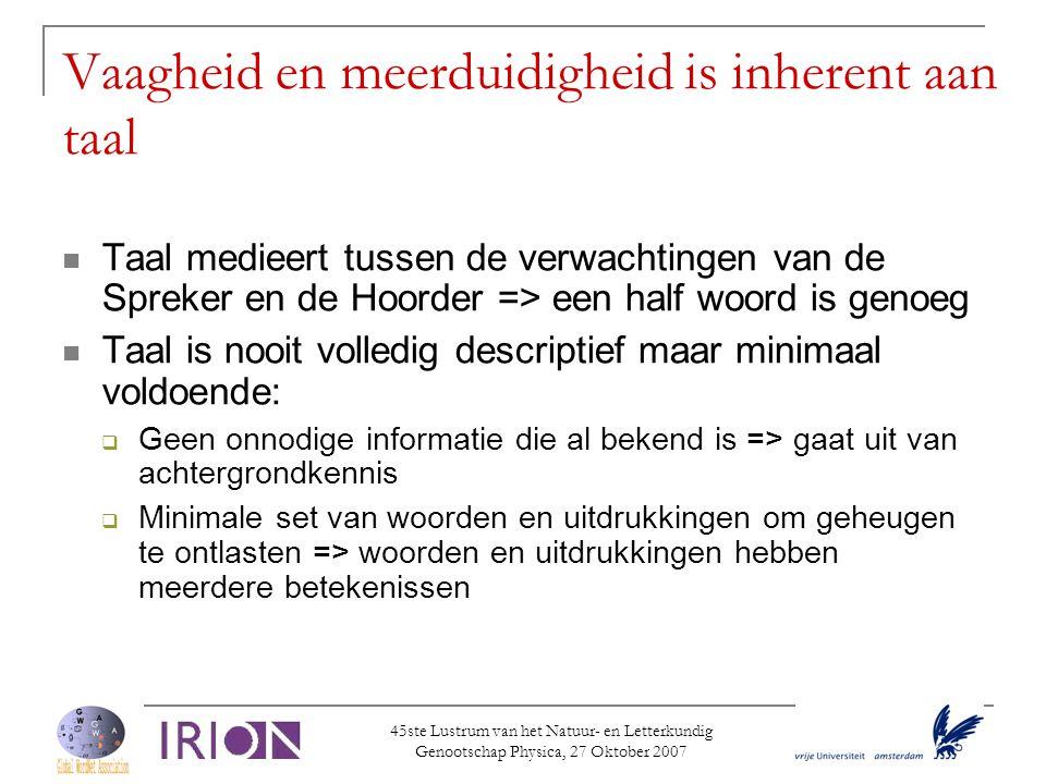45ste Lustrum van het Natuur- en Letterkundig Genootschap Physica, 27 Oktober 2007 Vaagheid en meerduidigheid is inherent aan taal  Taal medieert tus