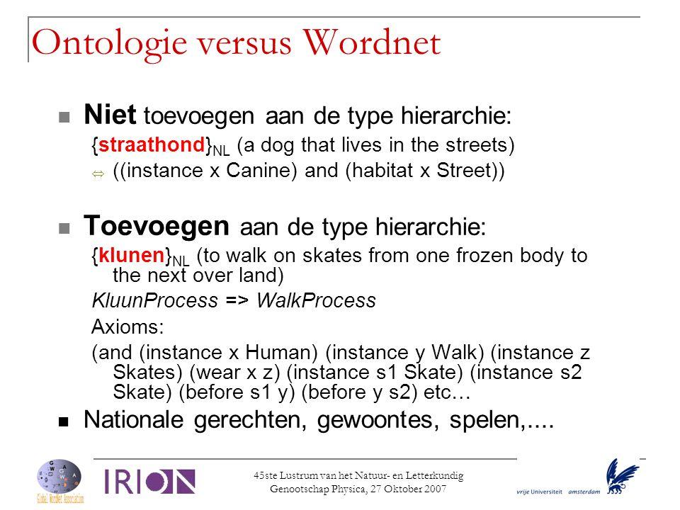 45ste Lustrum van het Natuur- en Letterkundig Genootschap Physica, 27 Oktober 2007 Ontologie versus Wordnet  Niet toevoegen aan de type hierarchie: {