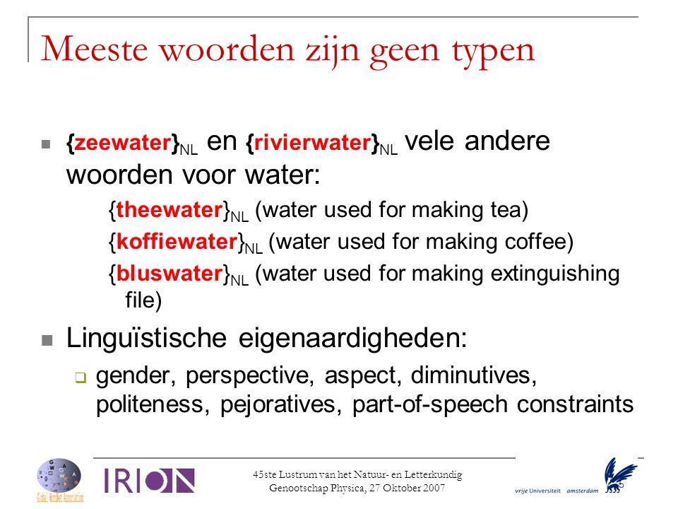 45ste Lustrum van het Natuur- en Letterkundig Genootschap Physica, 27 Oktober 2007 Meeste woorden zijn geen typen  {zeewater} NL en {rivierwater} NL