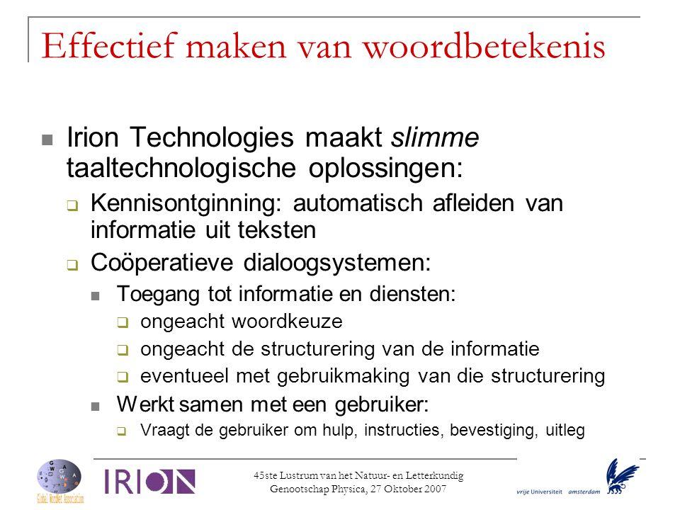45ste Lustrum van het Natuur- en Letterkundig Genootschap Physica, 27 Oktober 2007 Effectief maken van woordbetekenis  Irion Technologies maakt slimm