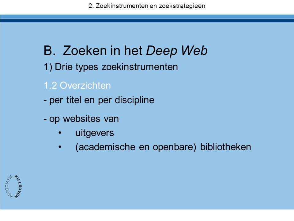 B.Zoeken in het Deep Web 1) Drie types zoekinstrumenten 1.2 Overzichten - per titel en per discipline - op websites van •uitgevers •(academische en op