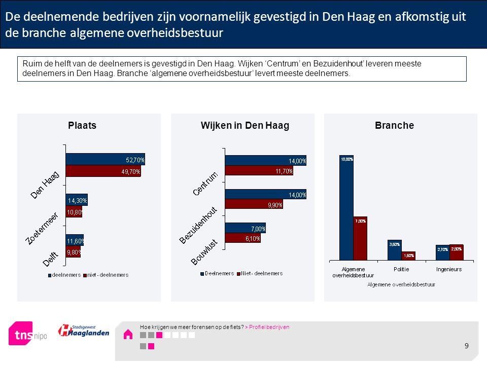 De deelnemende bedrijven zijn voornamelijk gevestigd in Den Haag en afkomstig uit de branche algemene overheidsbestuur Ruim de helft van de deelnemers