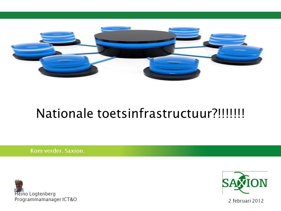 Kom verder. Saxion. Nationale toetsinfrastructuur?!!!!!!! Heino Logtenberg Programmamanager ICT&O 2 februari 2012