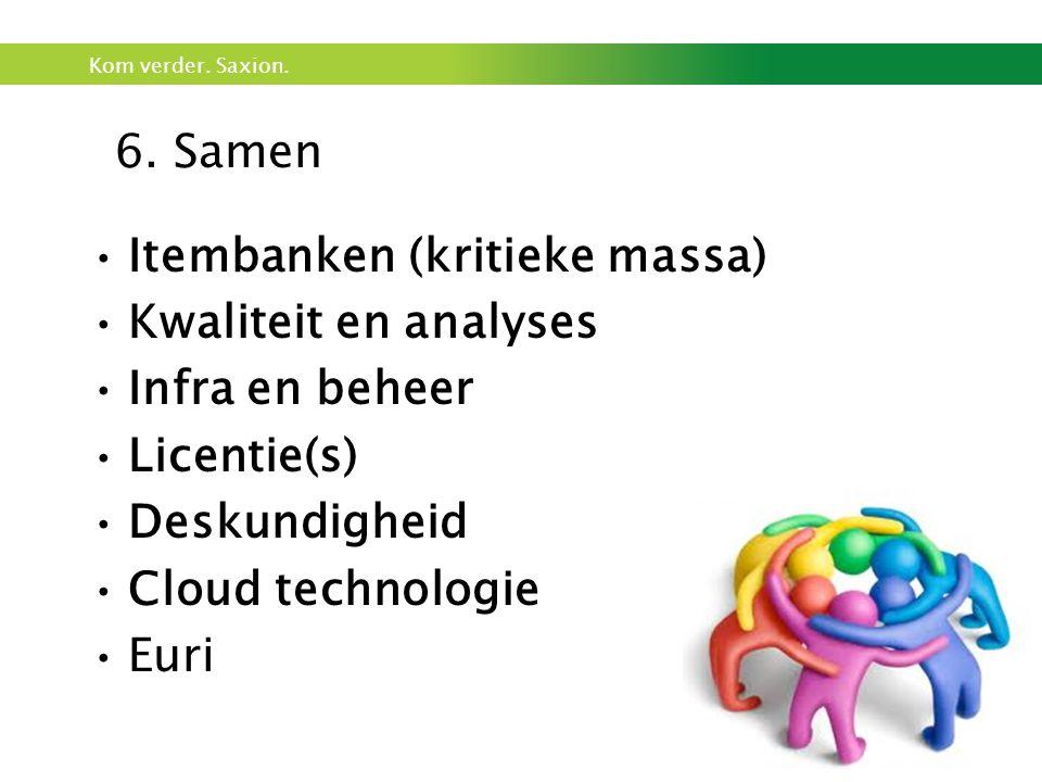 Kom verder. Saxion. •Itembanken (kritieke massa) •Kwaliteit en analyses •Infra en beheer •Licentie(s) •Deskundigheid •Cloud technologie •Euri 6. Samen