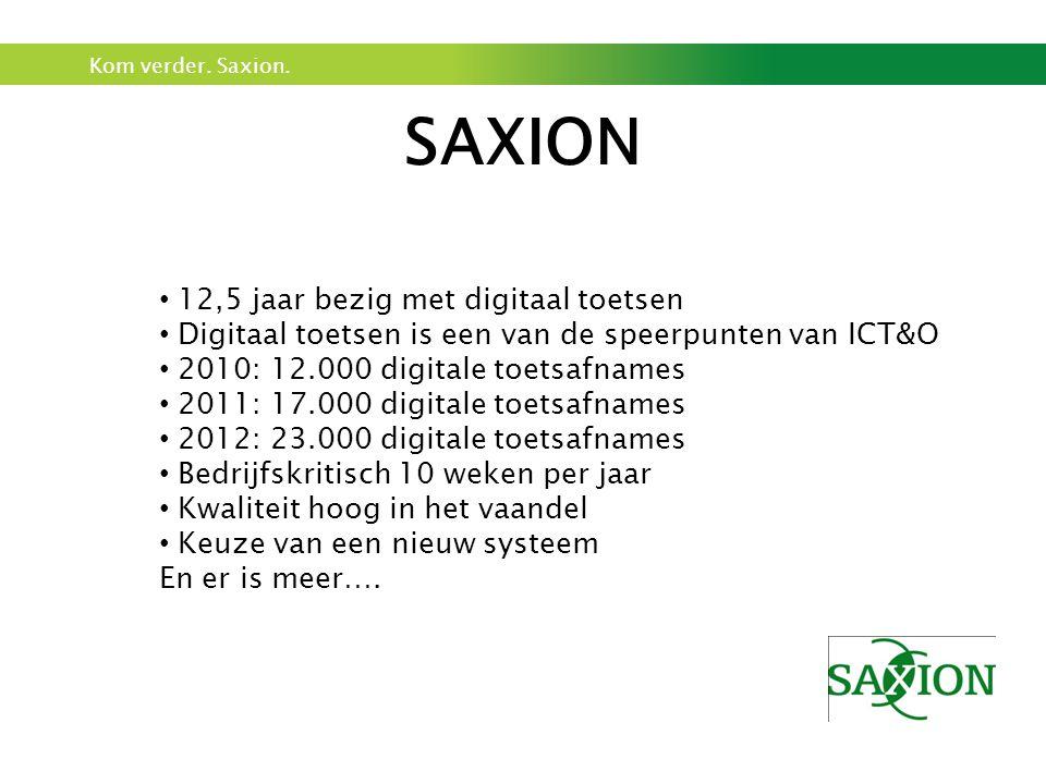 Kom verder. Saxion. SAXION • 12,5 jaar bezig met digitaal toetsen • Digitaal toetsen is een van de speerpunten van ICT&O • 2010: 12.000 digitale toets