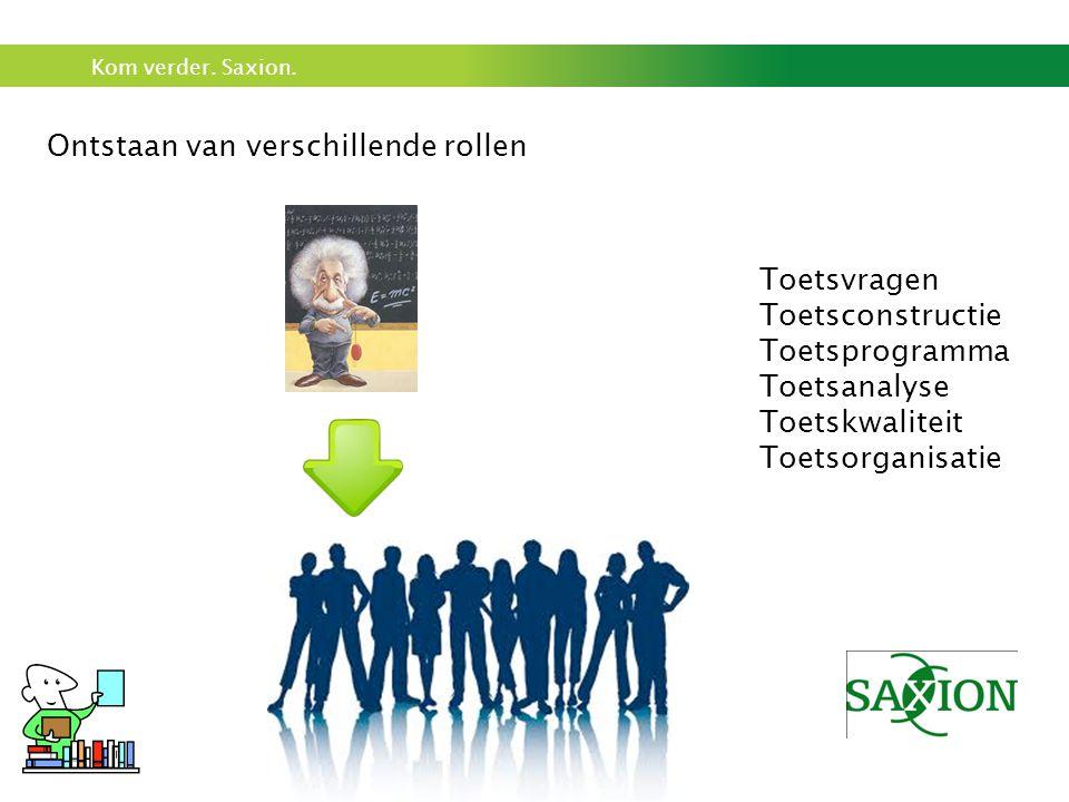 Kom verder. Saxion. Ontstaan van verschillende rollen Toetsvragen Toetsconstructie Toetsprogramma Toetsanalyse Toetskwaliteit Toetsorganisatie